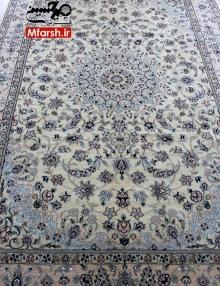 فرش دستباف لچک ترنج 6 متری نایین زمینه کرم 9لا