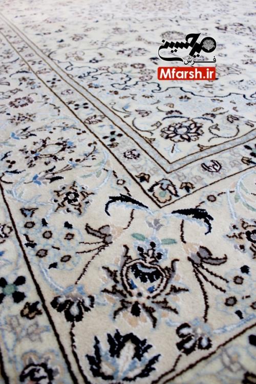 فرش دستباف لچک ترنج 6 متری نایین زمینه کرم 9 لا