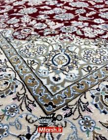 قالیچه لچک ترنج دستباف نایین چهار متری زمینه لاکی 9 لا