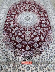 فرش دستباف 6 متری نایین زمینه لاکی 9لا