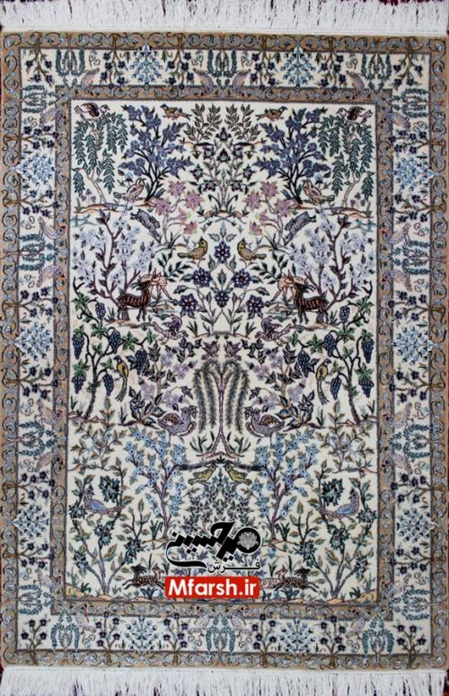 فرش دستباف نقش بهشت درختی نایین یک و نیم متری 6لا