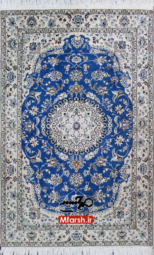 فرش دو متری دستباف نایین زمینه آبی 6 لا