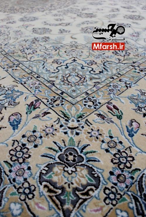 فرش دستباف 6 متری نایین زمینه کرم 9لا