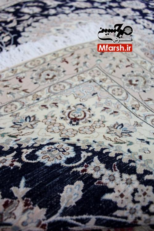 فرش یک و نیم متری دستباف نایین لچک ترنج زمینه سرمه ای 6لا