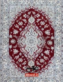 فرش یک و نیم متری دستباف نایین لچک ترنج زمینه لاکی 6لا