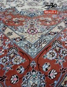فرش دستباف نایین 6 متری لچک و حاشیه مسی 9لا