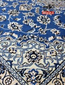 فرش لچک ترنج سایز پشتی دستباف نایین زمینه آبی 9لا