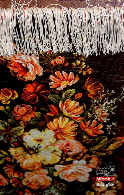 تابلو فرش دستباف طرح گل و گلدان چله ابریشم بافت پشت