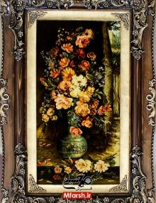 تابلو فرش دستباف طرح گل و گلدان چله ابریشم