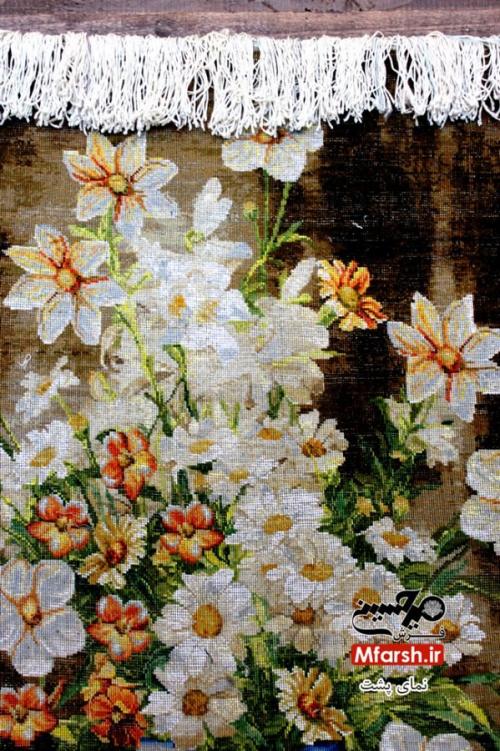 تابلو فرش دستباف طرح گل و گلدان چله ابریشم 60 رج پشت فرش