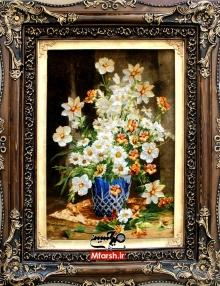 تابلو فرش دستباف طرح گل و گلدان چله ابریشم 60 رج