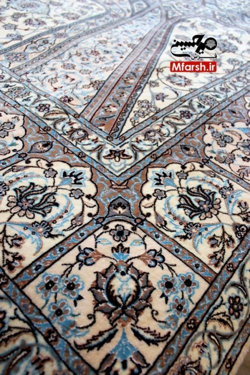 فرش شش متری دستباف نایین نقشه سقفی 6لا بافت قالی