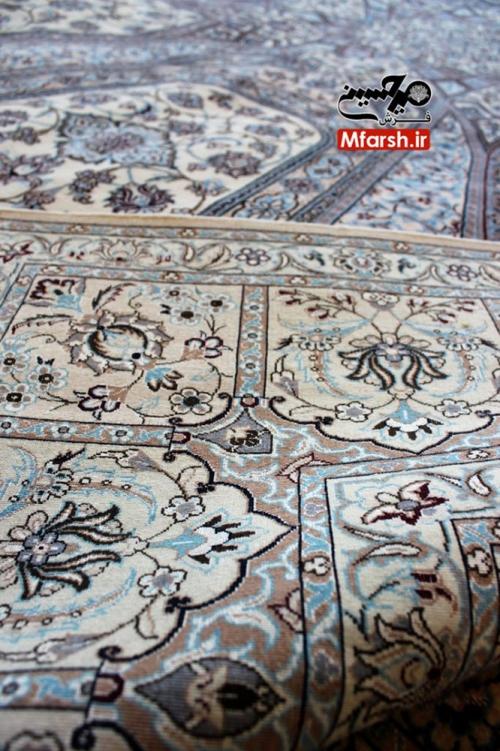فرش شش متری دستباف نایین نقشه سقفی 6لا بافت پشت قالی