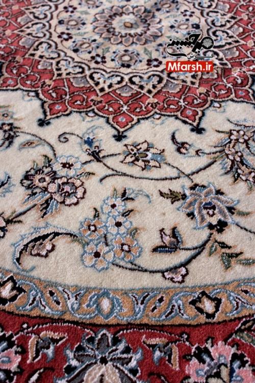 فرش لچک ترنج گرد دستباف نایین یک و نیم متری 9لا بافت فرش