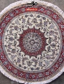 فرش لچک ترنج گرد دستباف نایین یک و نیم متری 9لا