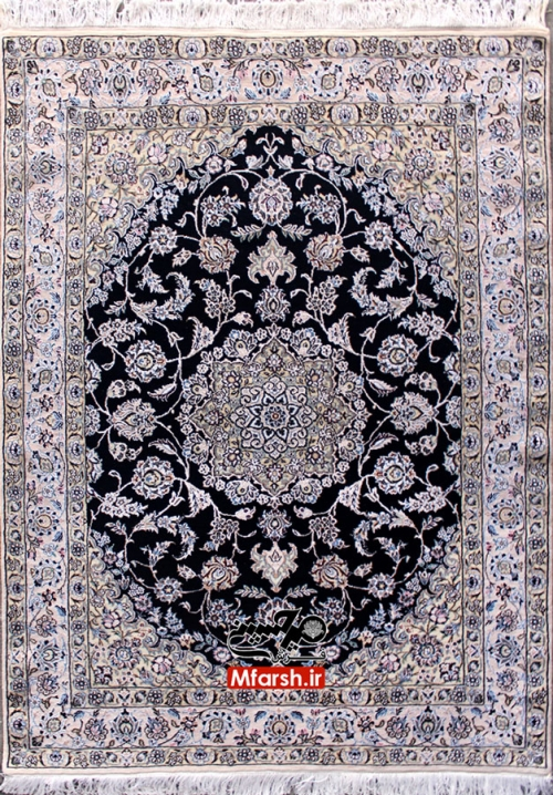 قالیچه لچک ترنج 4 متری دستباف نایین زمینه سرمه ای 9لا