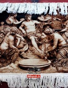 تابلو فرش دستباف طرح خلقت آدم با قاب چوبی سلطنتی پشت فرش