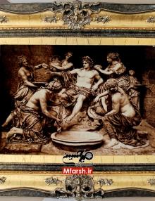 تابلو فرش دستباف طرح خلقت آدم با قاب چوبی سلطنتی
