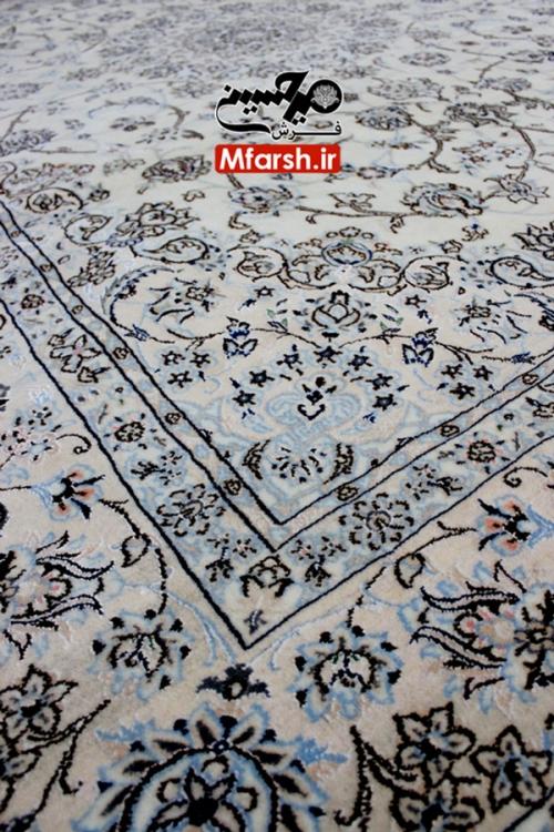 فرش جفت 6 متری دستباف نایین لچک ترنج زمینه کرم 9لا