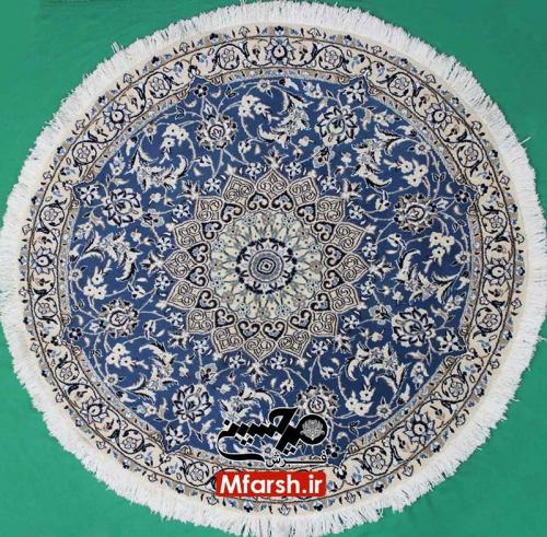 فرش دستباف دایره نایین سایز یک و نیم متری زمینه آبی