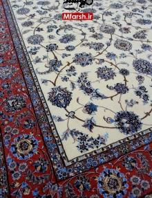 فرش دستباف طرح افشان نایین سه متری زمینه کرم 4لا بافت فرش