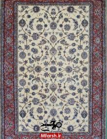 فرش دستباف طرح افشان نایین سه متری زمینه کرم 4لا