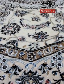 فرش دستباف هشت ضلعی نایین قطر دو و نیم متری زمینه کرم 9لا بافت قالی