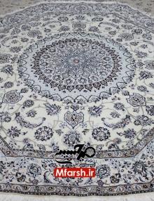 فرش دستباف هشت ضلعی نایین قطر دو و نیم متری زمینه کرم 9لا