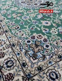 فرش سایز پشتی لچک ترنج دستباف نایین زمینه سبز 9لا بافت قالی