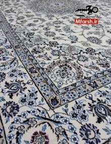 فرش 6 متری دستباف نایین لچک ترنج زمینه کرم 9لا بافت فرش