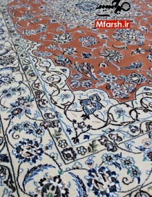 قالیچه جفت چهار متری دستباف نایین لچک ترنج 9لا بافت فرش