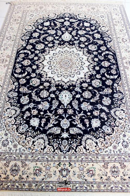 فرش دستباف نایین 6 لا اصل چهار متری زمینه سرمه ای