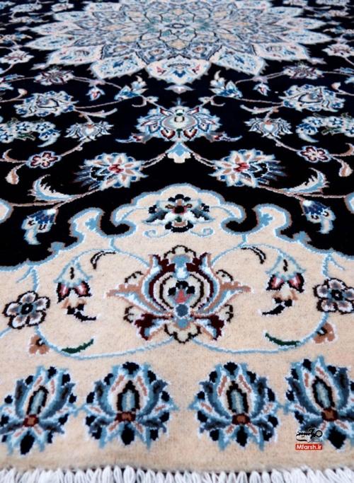 فرش دایره دو متری دستباف نایین زمینه سرمه ای 9 لا بافت فرش
