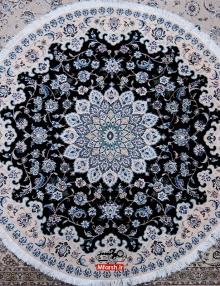 فرش دایره دو متری دستباف نایین زمینه سرمه ای 9 لا
