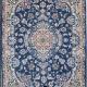 فرش زمینه آبی دستباف نایین یک در یک و نیم 9لا