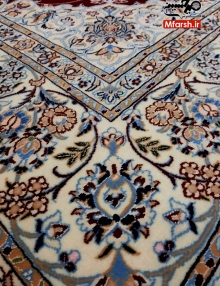 قالیچه چهار متری دستباف لچک ترنج نایین زمینه لاکی 6لا بافت فرش