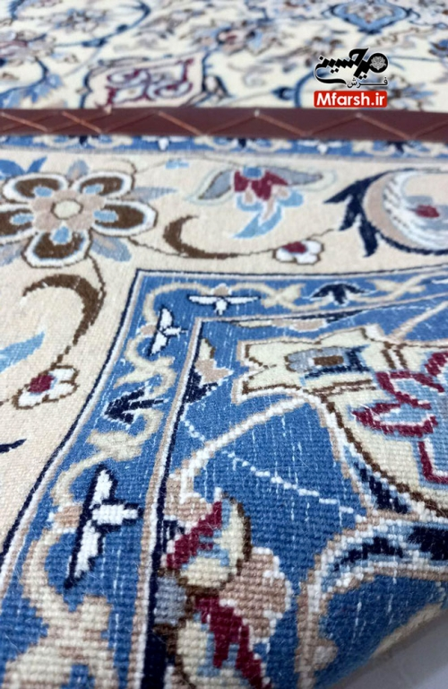Nain Oriental Rug Medallion Design White Cream