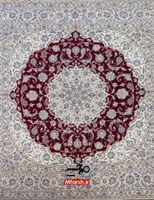 فرش مربع ضلع دو و نیم متری دستباف نایین زمینه لاکی 6لا